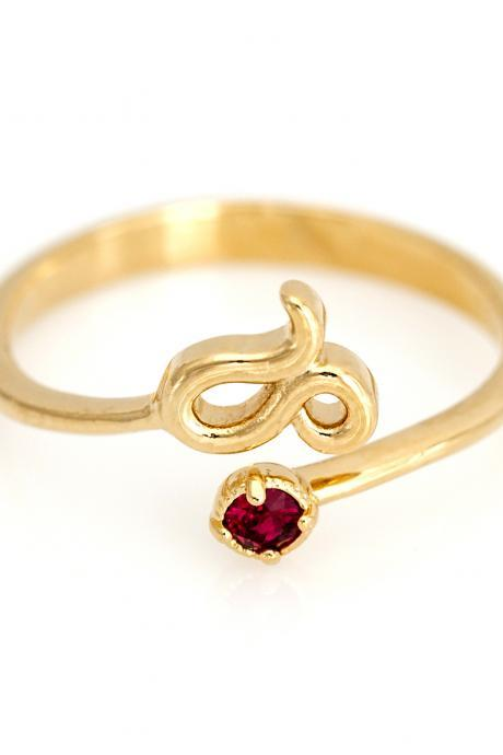 Leo Open Ring Zodiac Sign Gold Plated over Brass 5NAAR15