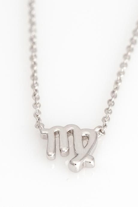 Virgo Necklace Zodiac Necklace Rhodium Plated over Brass 5NAAN16
