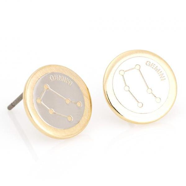 Gemini Earrings Zodiac Stud Round Earrings Gold Plated over Brass 5NABE63