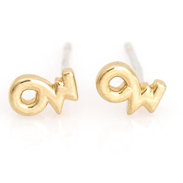 Capricorn Earrings Zodiac Stud Delicate Earrings Gold Plated Brass 5NAAE110