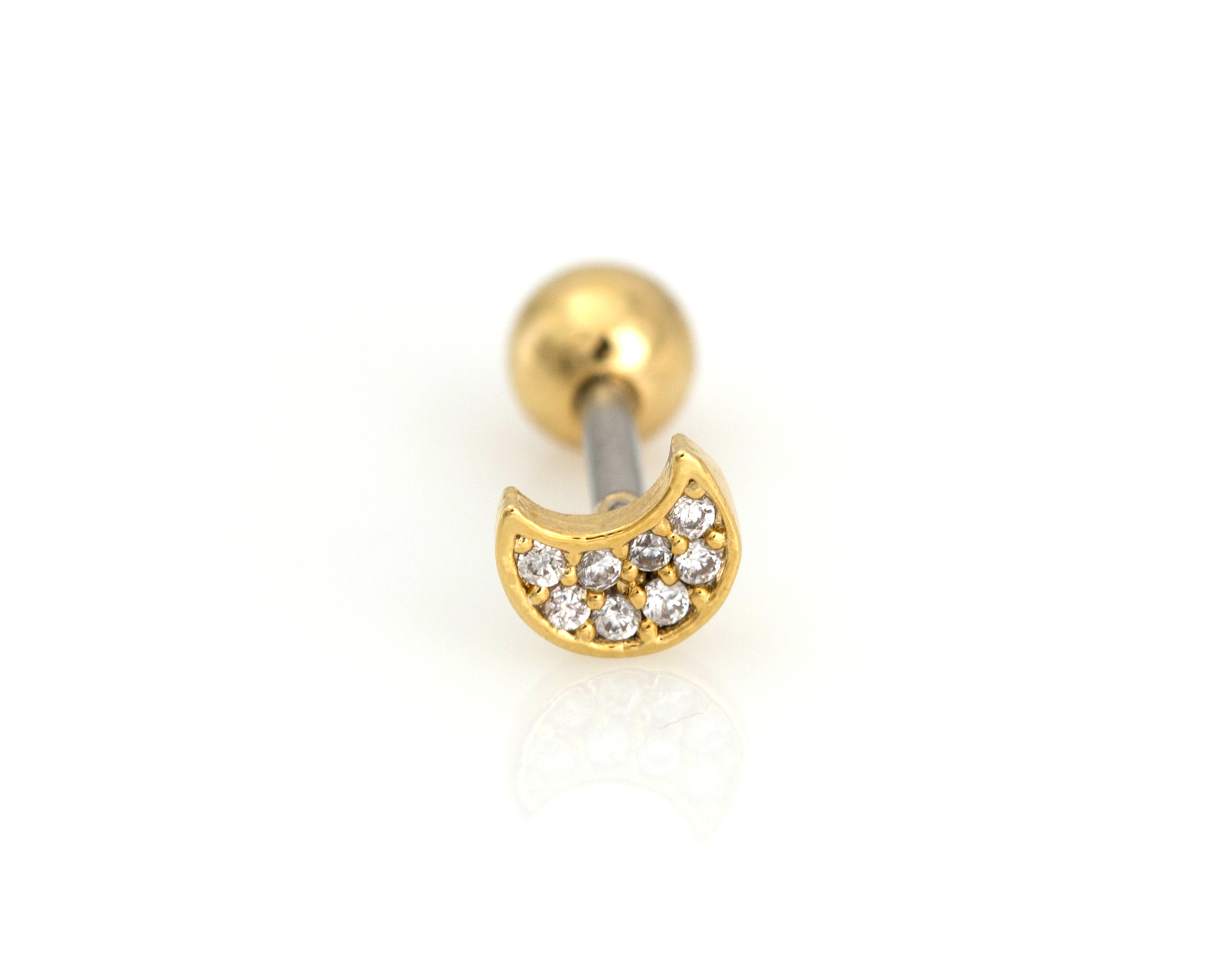 Single cubic half moon piercing cz moon tragus piercing for Helix piercing jewelry canada